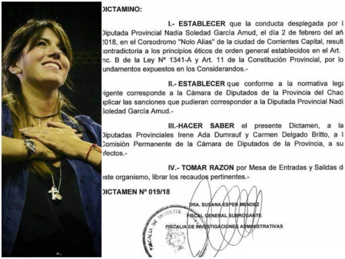 La Fiscalía de Investigaciones Administrativas dictaminó en contra de Nadia García Amud