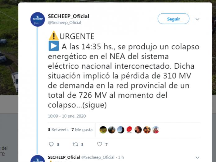 Apagón total en varias localidades por el colapsó de la red energética del NEA